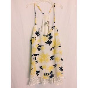Yellow & Navy Palm Trees Tank with Lace in Small
